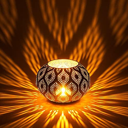 Orientalisches Windlicht Laterne orientalisch Afzal Gold Weiss Aussen 14cm | Orientalische Vintage Teelichthalter Goldfarben innen und außen | Marokkanische Windlichter aus Metall Ostern Dekoration