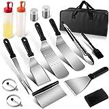 COFOF Juego de utensilios para barbacoa, set profesional de herramientas para barbacoa, con espátula, pinzas y bolsa de transporte, idea para barbacoa al aire libre, Teppanyaki y camping