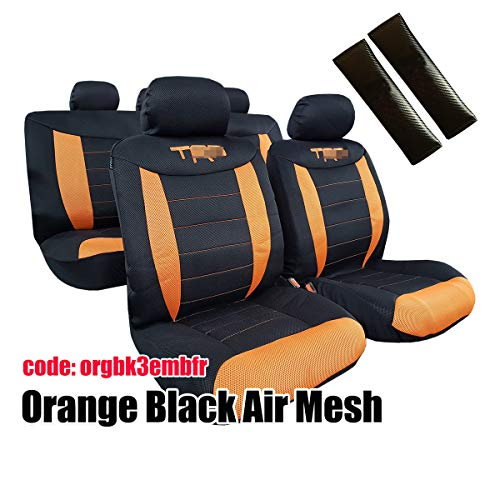 Car Seat Covers Full Set-Orange Black Color-Breathable Mesh Sports Embroidery Airbag Compatible Split Bench--Fit Most Car Truck SUV Van-Carbon Car Seat Belt Cover Shoulder Pads for Adults and Kids