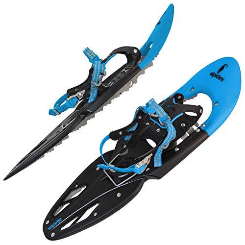 ALPIDEX Racchette Neve Ciaspole Alzatacco 38-46 Borsa Trasporto Bastoni Opzionali, Colore:Blue Senza Bastoncini