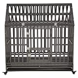 LUCKUP Heavy Duty Dog Cage Strong Metal Kennel and Crate for Medium and Large Dogs, Pet Playpen with Four Wheels,Easy to Install,48 inch,Black