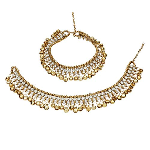 Efulgenz Indian Bollywood Gold Plated Faux Kundan Pearl Wedding Bridal Anklet Pair with Bells (2 piece) Bracelet Payal Foot Jewelry (White)