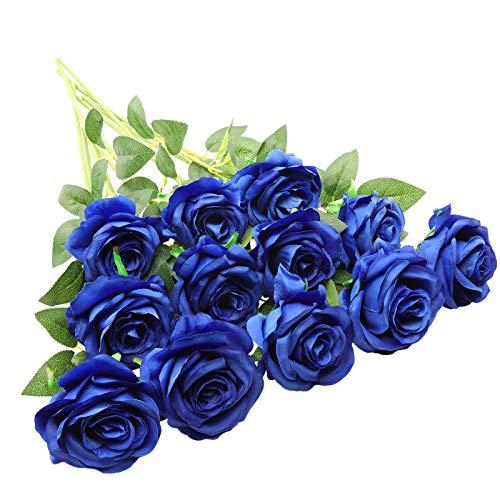 Decpro - 12 rosas artificiales, 19.7 pulgadas, flor de seda de tallo largo, flor falsa para ramo de novia, boda, fiesta en casa, oficina, decoración de hotel, centros de mesa, arreglos florales (azul)
