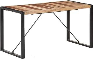 vidaXL Bois Massif Table à Dîner Table de Salle à Manger Table de Repas Meuble de Cuisine Maison Intérieur 140x70x75 cm Fi...