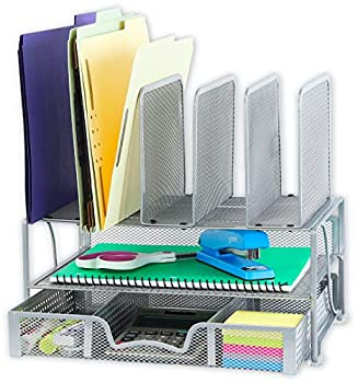 SimpleHouseware Mesh Desk Organizer with Sliding Drawer Double Tray and 5 Upright Sections Silver