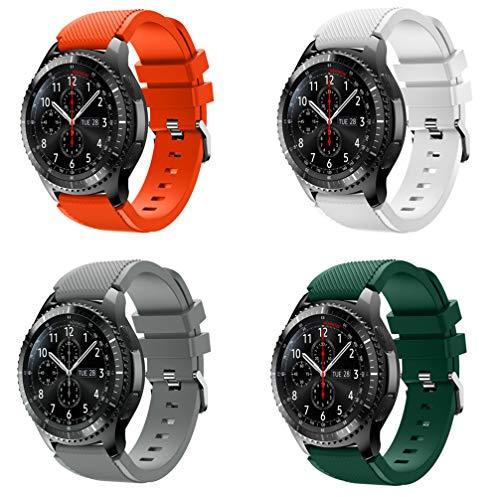 KOMI Correa de reloj compatible con Samsung Gear S3 Frontier/Classic, 22 mm de liberación rápida de silicona para deportes de fitness