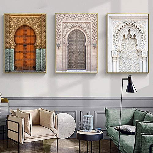 wymhzp Marroquí Puerta Pared Arte Oro Corán árabe caligrafía Lienzo Pintura Arquitectura Cartel impresión Pared imágenes decoración 50x70cmx3 sin Marco