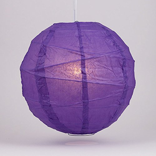 Luna Bazaar Premium Paper Lantern, Lamp Shade (20-Inch, Free-Style Ribbed, Plum Purple) - Rice Paper Chinese/Japanese Hanging Decoration - For Home Decor, Parties, and Weddings