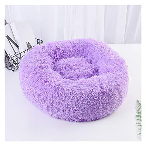 BZRXQR Cama para Mascotas, Peluche Perro Cama Tranquila Cama Pet Kennel Super Suave Suave Mullido cómodo Grande Perro sofá Gato casa para Mascotas (Color : Purple, Size : 80cm)