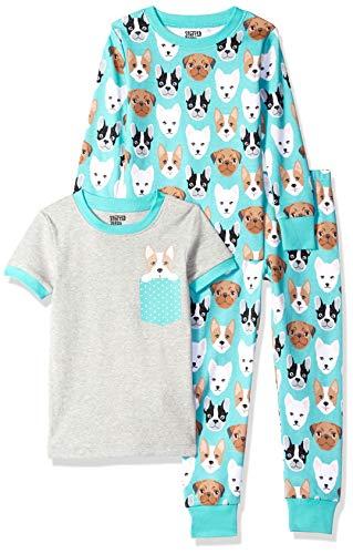 Spotted Zebra Girls' Toddler Snug-Fit Cotton Pajamas Sleepwear Sets, 3-Piece Puppies, 3T