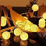 Cadena de Luces LED de 4M, 20 Bolas de Algodón, USB, 8 Modos, Bolas de LED, para Interior Pared,Decoración para Bodas,Habitaciones,Hogar,Fiestas (Bclanco)