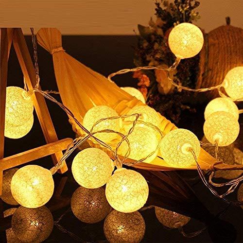 4M 20 LED Baumwollkugeln Lichterkette USB - 8 Modi Lichterkette Cotton Ball Baby -Kugel Lichterketten Innen Wandleuchte Weihnachtsbeleuchtung Deko für Hochzeit, Zimmer, Home, Party (Weiß)