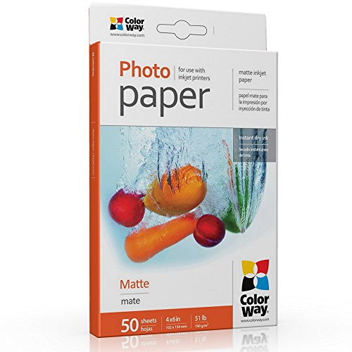 Fotopapier COLORWAY matt 50 Blatt 10x15 cm 190g/m² Sofort Trocken Wasserfest für alle Tintenstrahldrucker