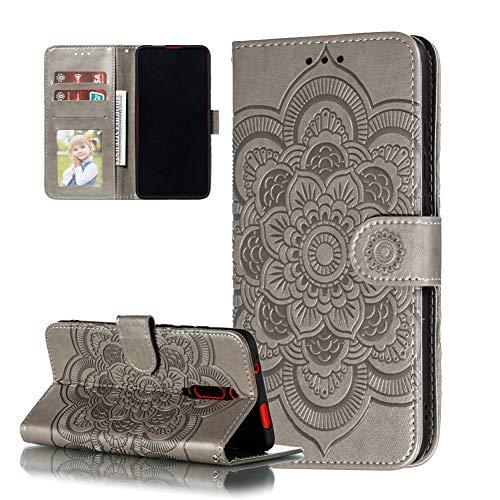 COTDINFOR Etui für Xiaomi Redmi 8A Hülle PU Leder Cover Schutzhülle Magnet Tasche Flip Handytasche im Bookstyle Stand Kartenfächer Lederhülle für Xiaomi Redmi 8A Gray Mandala LD.