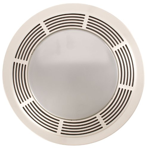 bathroom fan light combos Broan-NuTone 751 Round Fan and Light Combo for Bathroom and Home, White Grille with Glass Lens, 100-Watts, 5.0 Sones, 100 CFM