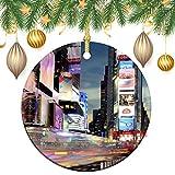 happygoluck1y - Adornos de cerámica de Chrismtas, Times Square New York, redondos, de doble cara, adornos de decoración para árbol de Navidad, recuerdo para el hogar, niños, parejas nuevas, 3 pulgadas
