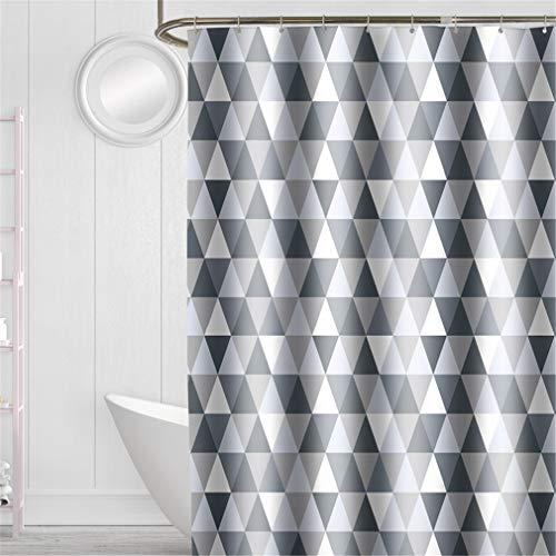 YISHU Top Qualität Duschvorhang Wasserdicht Anti-Schimmel Stoff inkl. 12 Duschvorhangringe für Badezimmer Dreieck 240x200cm