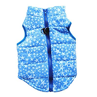 N / A Pet Winter Clothes,Small Dog Warm Coat Jackets Pet Clothing Costume for Cats Puppy Small Dogs (S, Blue)