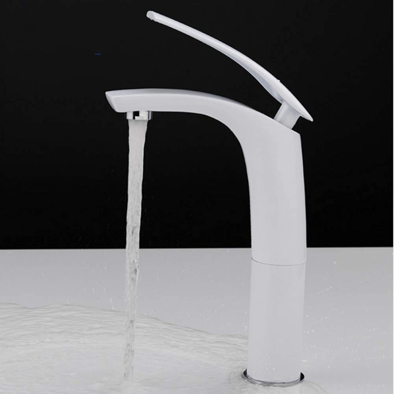 Lddpl Wasserhahn 4 Farben Bad Waschbecken Wasserhahn Badarmaturen Wasserhhne Solide Wei Schwarz Messing Kalt-Und Warmwasser Einhand-Waschbecken Mischbatterie
