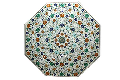 36 x 36 Inches Multi Gem Stones Inlaid Marble Table Top Royal Dining Table Top to Add Royal Look in Your Life Style
