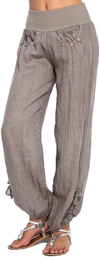 Lghxlxry Women's Casual High Waist Wide Leg Cotton Linen Cropped