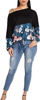 Women's One Shoulder Floral Print Loose Blouse Top Contrast Blouse T-Shirts Tops Black Large