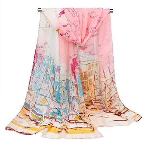 ALWYHH Dames Sjaal Dunne Olie Patroon Zijde Sjaal Lange Zonnebrandcrème Chiffon Sjaals Seaside Resort Beach Towel Bandana Hijab