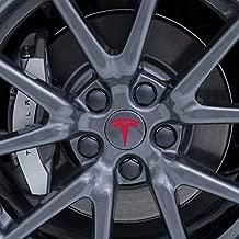 BASENOR Tesla Model 3 Aero Wheel Cap Kit Aluminum Alloy Center Cap Set and Wheel Lug Nut Cover (Red)