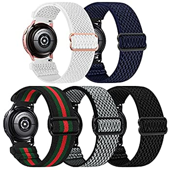 5 Pack Stretchy Nylon Watch Bands Compatible with Samsung Galaxy Watch Active 2 Bands 40mm 44mm/Active 40mm/Galaxy Watch 3 41mm/Galaxy Watch 42mm/Gear S2 Adjustable Fabric 20mm Wristband GC