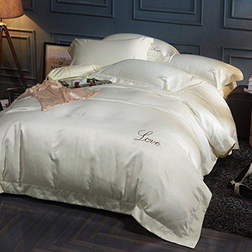 BB.er Literie de soie pur coton lavé quatre ensembles de draps housse de couette, beige, 200 * 230cm