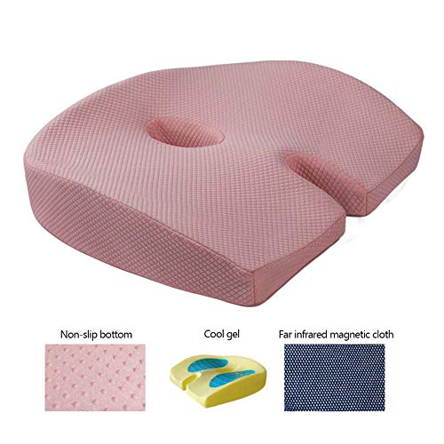 Gel Enhanced Seat Cushion Coccyx Chair Cushion For Sciatica Hemorrhoid Tailbone Back Pain Relief - Memory Foam Ergonomic Support Cushion For Office Chair,Wheelchair,Car Seat,Pink
