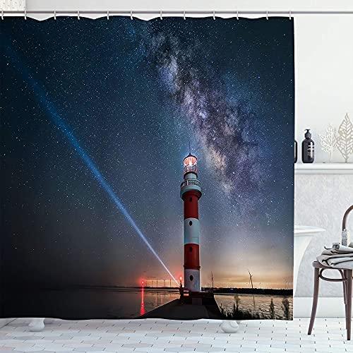 EURmermaid Cortina de la Ducha,Faro Azul Cielo Estrellado Océano Mar Rojo Amarillo Luz de la lámpara Paisaje,con 12 Ganchos de plástico Cortinas de baño Decorativas 72x84 Pulgadas