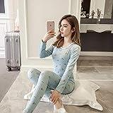 Pijamas Mujer Camisón Otoño Invierno Conjuntos De Ropa Interior Térmica De Lana para Mujer Pijamas Largos Gruesos Y Largos De Manga Larga Ropa De Dormir Ropa De Hogar XXL 05