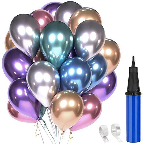"""Hotelvs 60 Piezas Globos Decoracion Cumpleaños, 12"""" Globos de Colores Metalizados de Látex para Bodas, Fiestas de Cumpleaños Bodas Aniversario Graduacion Fiesta"""