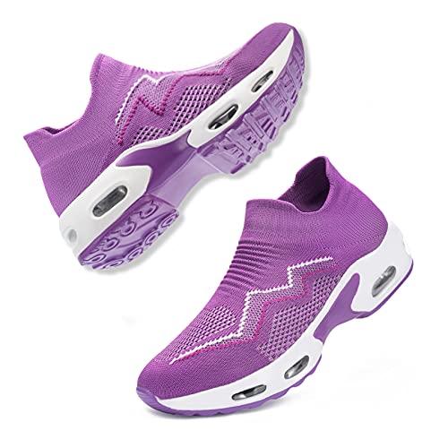 [DYKHMILY] 安全靴 レディース エアクッション 超軽量 スリッポン 作業靴 鋼先芯(JIS H級相当) 衝撃吸収 通気 あんぜん靴 耐滑 おしゃれ ダイエットシューズ 厚底 ウォーキングシューズ(24.0cm,パープル,D11829)