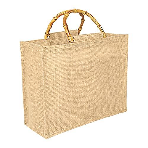 Tibroni Sac de pesée portable, en toile de jute naturelle, avec poignées, en bambou, parfait pour le shopping, les pique-niques, les cadeaux, les voyages, la plage - - Linge de lit, M:33x26x14cm EU