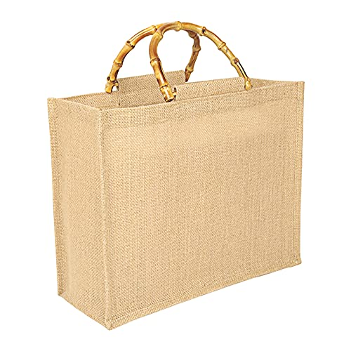 Tibroni Bolsa para la compra portátil, bolsa portátil de yute natural, bolsa de yute con asas de bambú, perfecta para compras, picnic, regalos, viajes, playa Size: L: 39x31x15cm