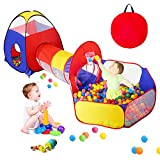 3 in 1 Kids Play Tent for Toddler with Baby Ball Pit and Play Tunnel, Children Indoor Outdoor Playhouse with Climbing Tunnel Toy for Toddlers, Boys and Girls Best Birthday Gifts
