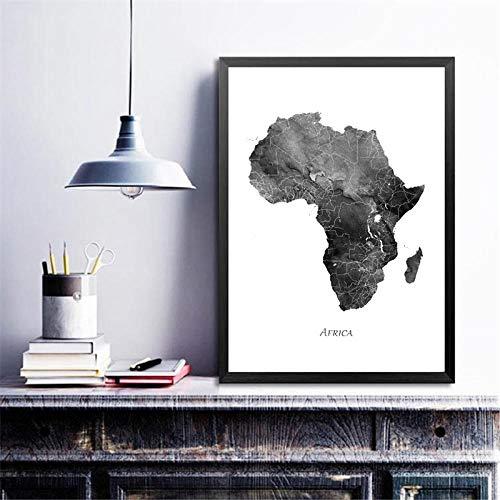 IGZAKER Afrika kaart posters en prints aquarel kaart reizen muur canvas schilderij grijs zwart wit foto voor woonkamer Home Decor / 40x60cm geen frame