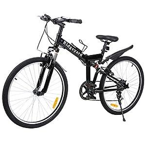 "Ridgeyard 26"" 7 velocidades Plegable Bicicleta Folding Bike Bicicleta de montaña Shimano (Negro)"