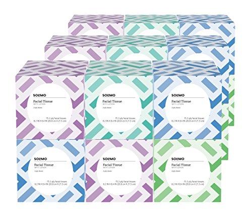 Marca Amazon – Tejidos faciales Solimo con loción (18 cajas de cubos), 75 pañuelos por caja (1350 pañuelos en total)