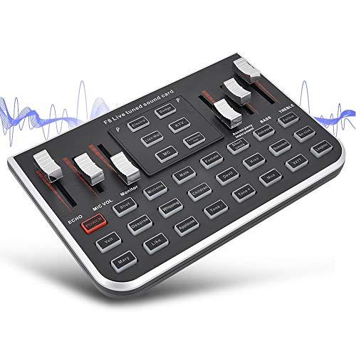 Mezclador multifuncional en vivo, dispositivo de cambio de voz para PS4 for Xbox / teléfono for iPad / computadora, tarjeta de sonido con múltiples efectos de sonido divertidos, para YouTube LiveMe