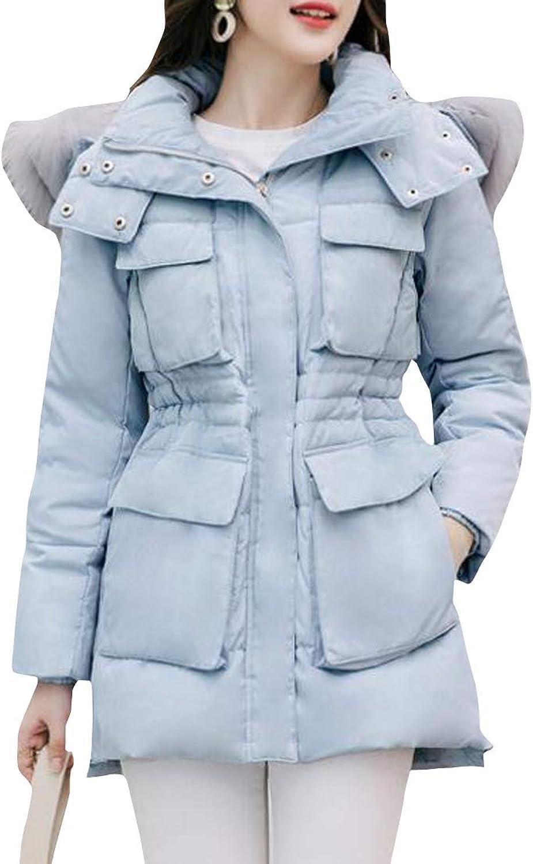 Cromoncent Women Winter Thick Outwear Faux Fur Collar Hoodie Down Parkas Coat