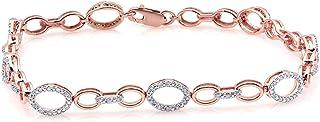 سوار ألماس طبيعي 1/5 قيراط 10 قيراط من الذهب الأبيض (لون IJ ، نقاء I3) سوار ألماس للنساء مجوهرات الماس هدايا للنساء