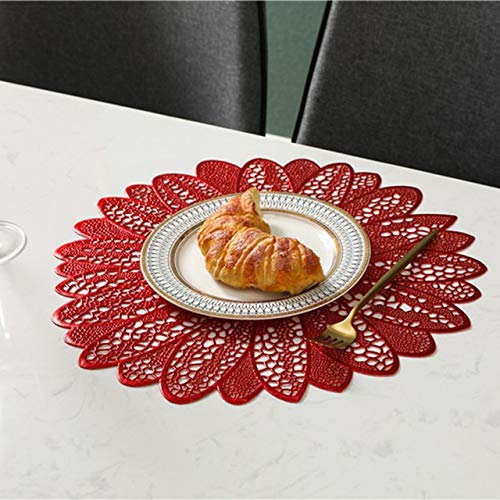 LYDBM La Forma de Hoja de PVC 1pcs Comedor Occidental Mantel Mat Alimentación Impermeable termoaislante 38cm del cojín Occidental Mantel Vajilla (Color : Rojo)