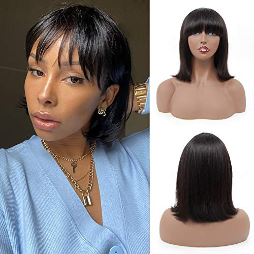 8 inch Short Bob None Lace Front Wigs Brazilian Virgin Bob Straight Human Hair Wigs with Bangs 150% Density Hair Glueless Silky Machine Made Wigs for Women Natural Black Color