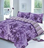 <span class='highlight'>SBL</span> <span class='highlight'>Trendz</span> Rose Duvet Cover Sets with Pillow Cases Bedding Set Single Double King Super King Sizes (Single, Lilac)