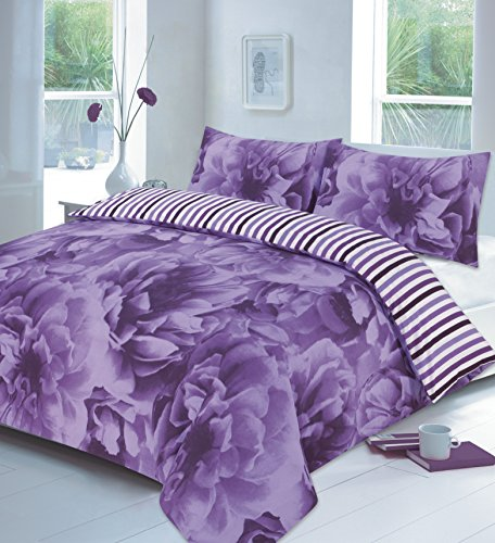 clicktostyle ROSE LILAC KING SIZE DUVET SET QUILT COVER WITH PILLOW CASES BEDDING SET