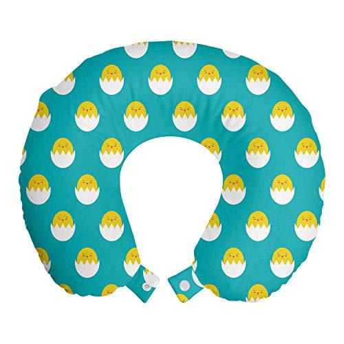 ABAKUHAUS Gelber Vogel Reisekissen Nackenstütze, Huhn in gebrochenem Ei, Schaumstoff Reiseartikel für Flugzeug und Auto, 30x30 cm, Seafoam Gelb