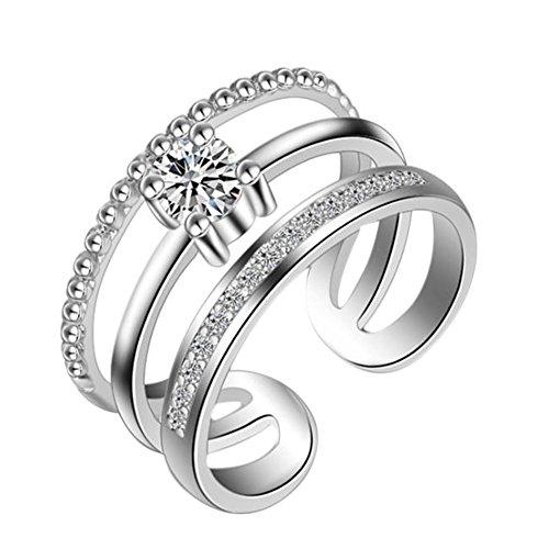 AIUIN Vrouwen Drie Cirkels Opening Ring Zilver Ring met Diamant Crystal Verstelbare Open Ringen Bruiloft Mode Sieraden Vrouwen X 1 Stk, met een Juwelen Tas
